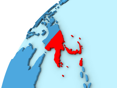 Papua New Guinea in red on simple blue political globe. 3D illustration