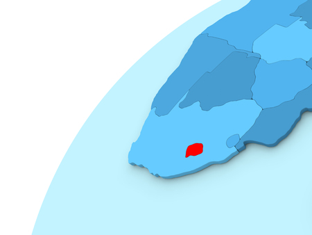 Lesotho in red on simple blue political globe. 3D illustration