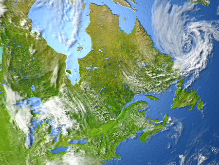 East coast of Canada. 3D illustration with detailed planet surface.