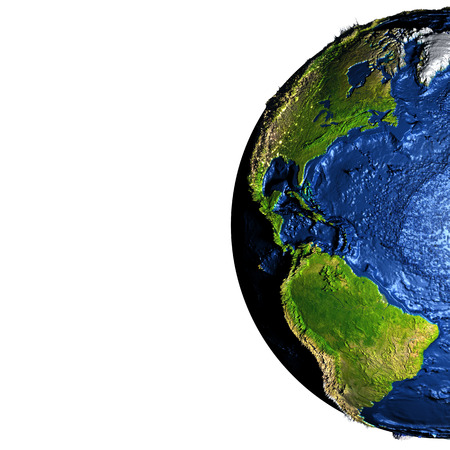 americas: Americas on model of Earth with exaggerated surface features including ocean floor. 3D illustration. Blank space for your copy on the left side.