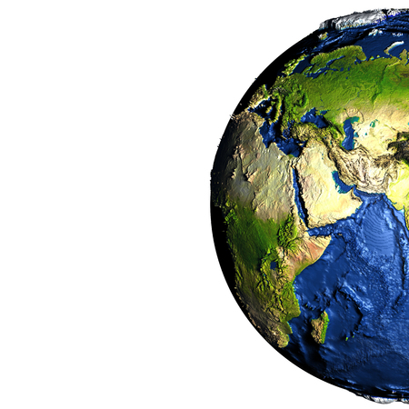 Middle East on model of Earth with exaggerated surface features including ocean floor. 3D illustration. Blank space for your copy on the left side. Elements of this image furnished by NASA.
