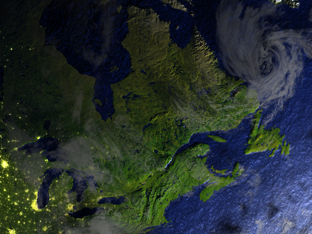 East coast of Canada on model of Earth. 3D illustration with realistic planet surface.
