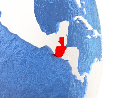 Guatemala on globe with realistic blue water and shiny metallic continents. 3D illustration Stock Photo