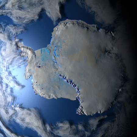 antarctic: Antarctic. 3D illustration with detailed planet surface and visible city lights. Stock Photo