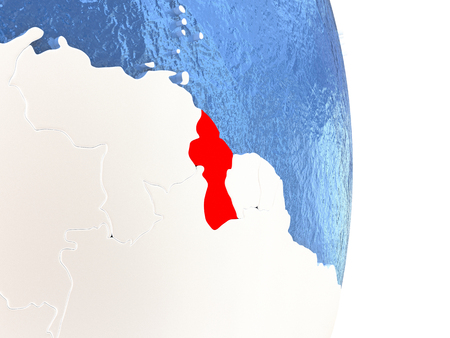 guyanese: Guyana on globe with realistic blue water and shiny metallic continents. 3D illustration
