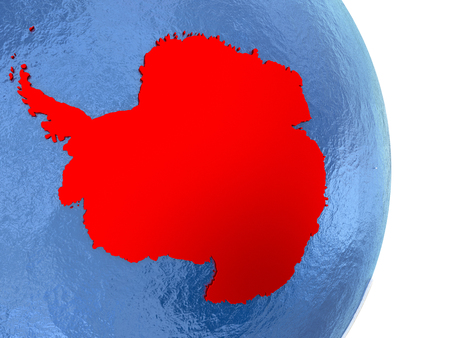 Antarctica on globe with realistic blue water and shiny metallic continents. 3D illustration