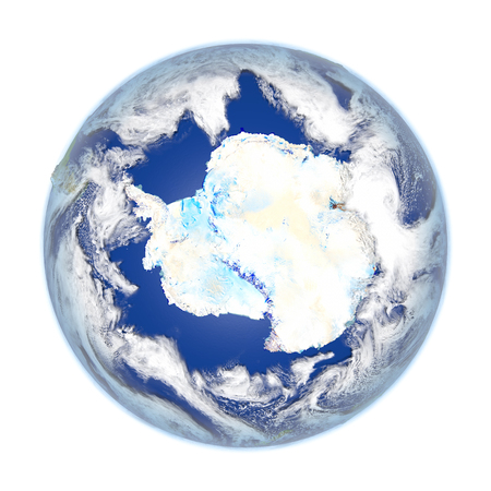 antarctic: Antarctic on planet Earth. 3D illustration with detailed planet surface isolated on white background.