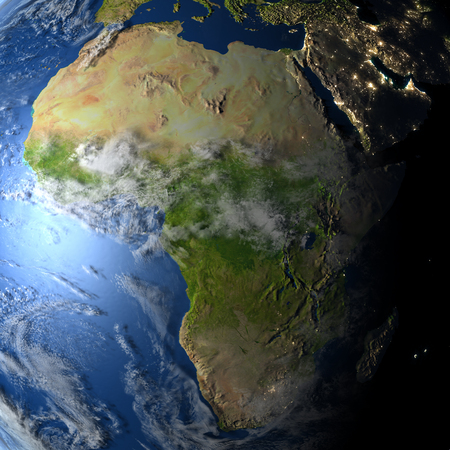visible: Africa. 3D illustration with detailed planet surface and visible city lights. Stock Photo