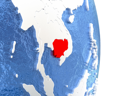 cambodian: Cambodia on globe with realistic blue water and shiny metallic continents. 3D illustration Stock Photo