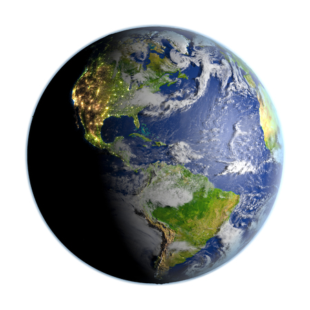 Americas on planet Earth. 3D illustration with detailed planet surface isolated on white background. Stock Photo