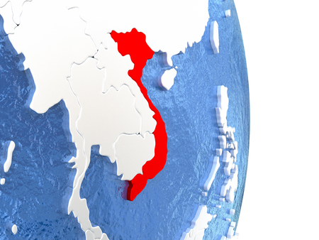 Vietnam on globe with realistic blue water and shiny metallic continents. 3D illustration