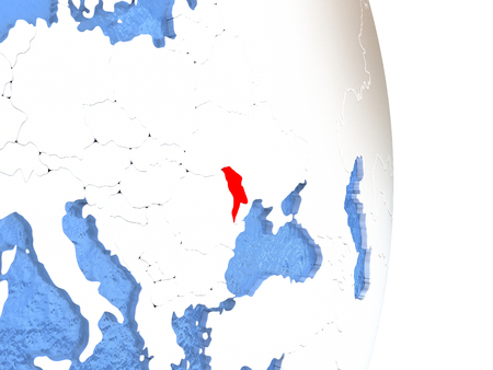 Moldova on globe with realistic blue water and shiny metallic continents. 3D illustration