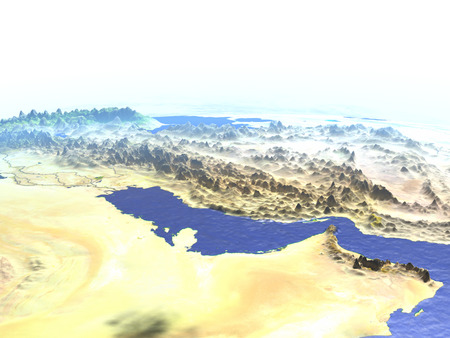 Persian Gulf on model of Earth. 3D illustration with realistic planet surface.