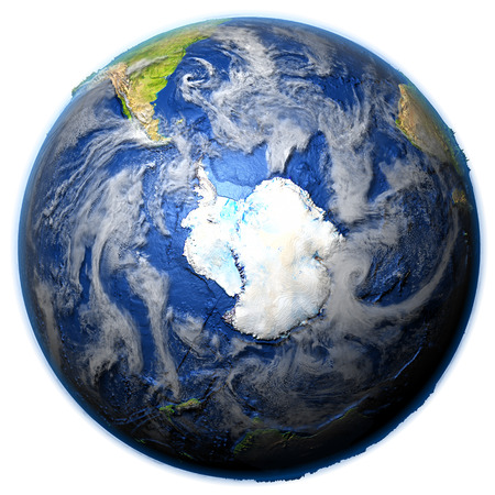 Southern Ocean on 3D model of Earth. 3D illustration with plastic planet surface and ocean floor. Stock Photo