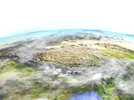 Himalayas on model of Earth. 3D illustration with realistic planet surface. Stock Photo