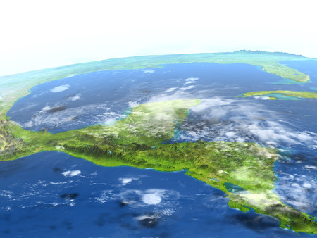 Yucatan. 3D illustration with detailed planet surface.