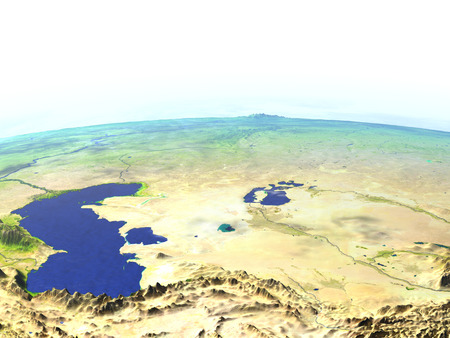 Central Asia on model of Earth. 3D illustration with realistic planet surface.