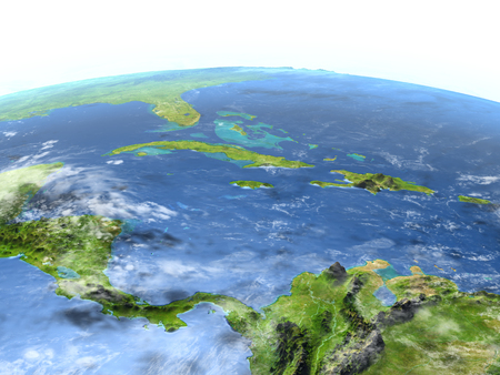North Caribbean. 3D illustration with detailed planet surface.