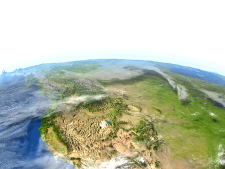 colorado rocky mountains: California. 3D illustration with detailed planet surface.