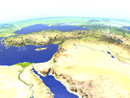Middle East on model of Earth. 3D illustration with realistic planet surface.