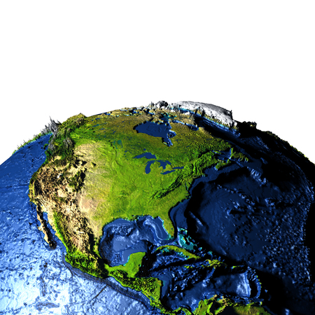 Central and North America on model of Earth with exaggerated surface features including ocean floor. 3D illustration. Stock Photo