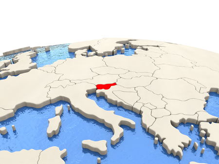 Slovenia highlighted in red on globe with realistic blue water. 3D illustration