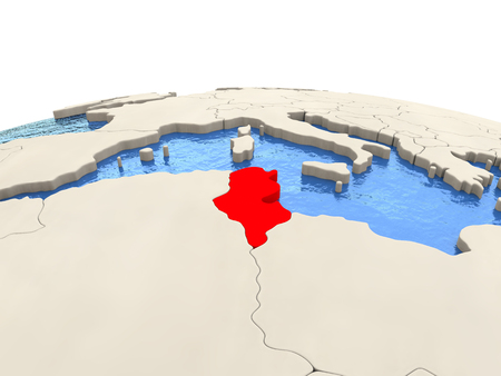Tunisia highlighted in red on globe with realistic blue water. 3D illustration