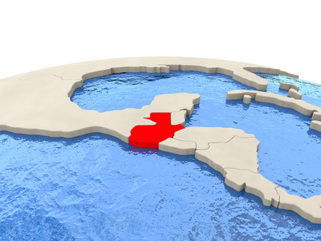 guatemalan: Guatemala highlighted in red on globe with realistic blue water. 3D illustration