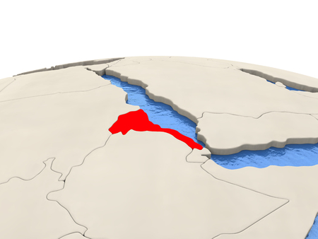 Eritrea highlighted in red on globe with realistic blue water. 3D illustration