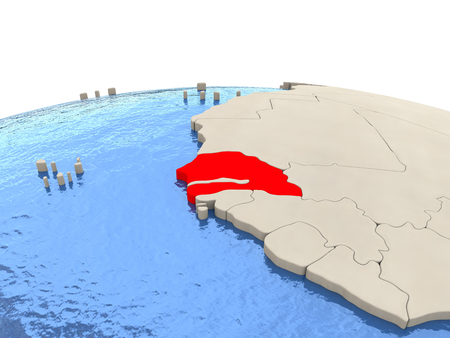 Senegal highlighted in red on globe with realistic blue water. 3D illustration Stock Photo