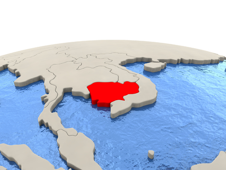 Cambodia highlighted in red on globe with realistic blue water. 3D illustration