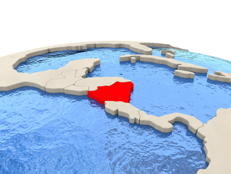 nicaragua: Nicaragua highlighted in red on globe with realistic blue water. 3D illustration Stock Photo
