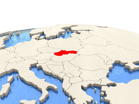 Slovakia highlighted in red on globe with realistic blue water. 3D illustration