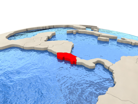 Costa Rica highlighted in red on globe with realistic blue water. 3D illustration
