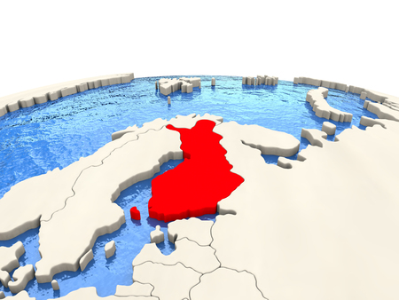 finnish: Finland highlighted in red on globe with realistic blue water. 3D illustration