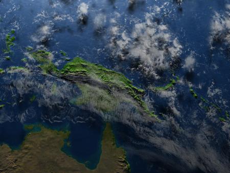 Nuova Guinea: Papua. 3D illustration with detailed planet surface. Archivio Fotografico