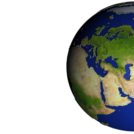 Europe on model of Earth with dark blue oceans and embossed landmasses. 3D illustration. Blank space for your copy on the left side.