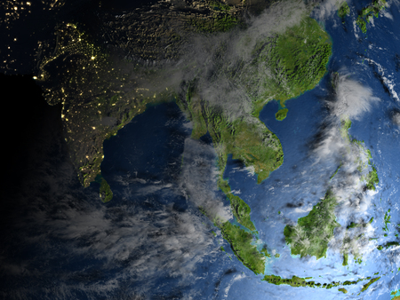 bengal: Southeast Asia. 3D illustration with detailed planet surface.