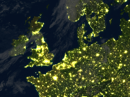 夜イギリス諸島。3 D イラスト詳細惑星表面、目に見える街の明かり。