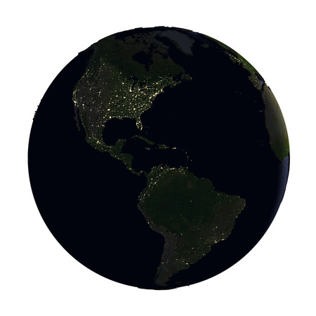 americas: Americas on model of Earth with dark blue oceans and embossed landmasses at night. 3D illustration isolated on white background.