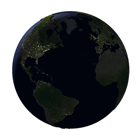 Northern Hemisphere on model of Earth with dark blue oceans and embossed landmasses at night. 3D illustration isolated on white background.