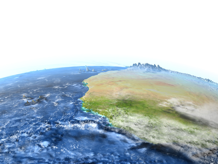 mauritania: Western Africa on 3D model of Earth. 3D illustration with plastic planet surface and ocean floor. Stock Photo