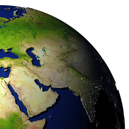 Middle East on model of Earth with dark blue oceans and embossed landmasses. 3D illustration.