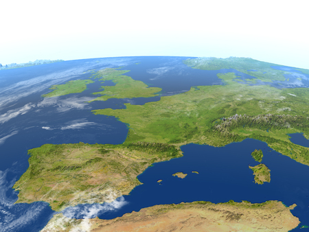 Iberia. 3D illustration with detailed planet surface. Reklamní fotografie