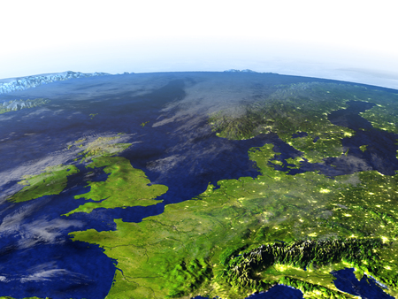 Western Europe on model of Earth at night. 3D illustration with realistic planet surface and visible city lights.