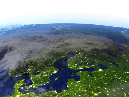 Scandinavian Peninsula on model of Earth at night. 3D illustration with realistic planet surface and visible city lights.