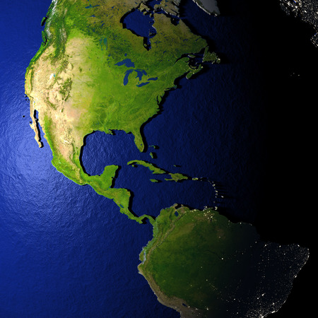 americas: Americas on model of Earth with dark blue oceans and embossed landmasses. 3D illustration. Stock Photo