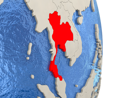 Map of Thailand on globe with blue watery seas. 3D illustration