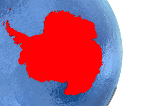 Map of Antarctica on globe with blue watery seas. 3D illustration