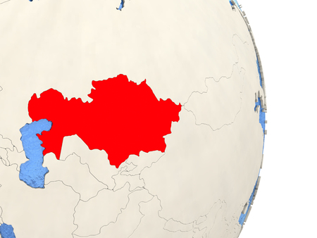 Map of Kazakhstan on globe with blue watery seas. 3D illustration